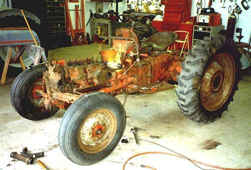A before picture of the Ford 8N Lawnmower.