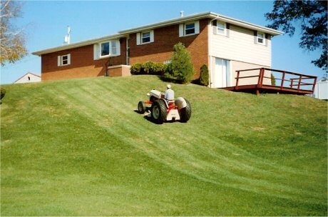 Mowing up a hill (that's steeper than it looks) is easy for the 8N. But don't try this on wet grass. Trust me.