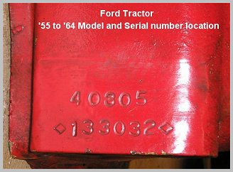 "Model and serial number location on early thousand series tractors is the same as the hundred and ""01"" series tractors"
